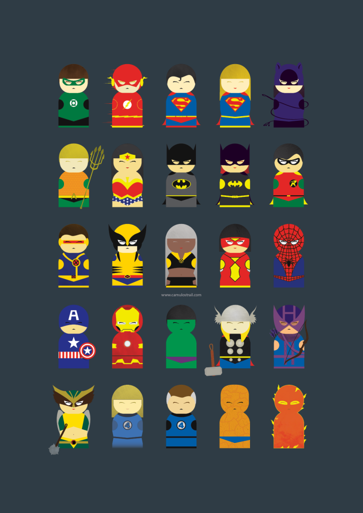 25 Marvel&DC characters poster 2015 version